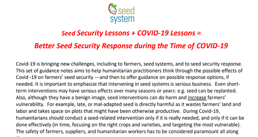 Covid-19 and seeds